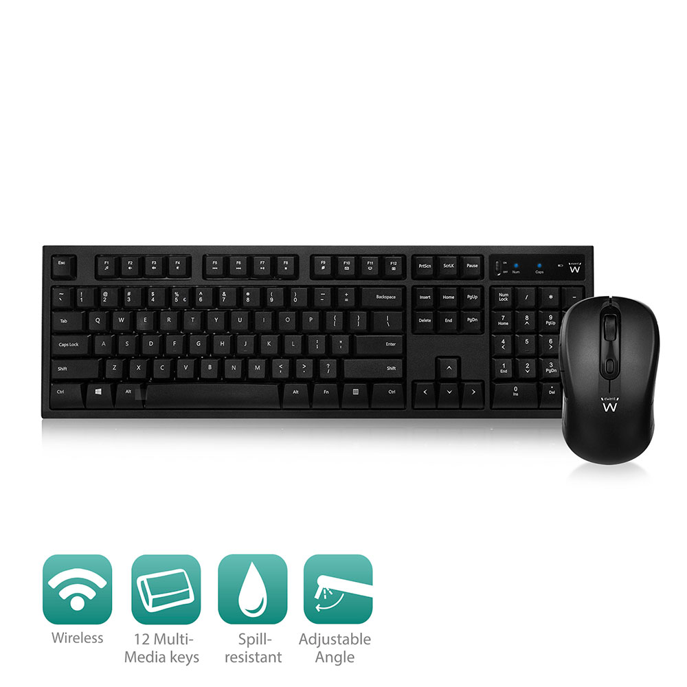 Ewent Wireless Keyboard and Mouse, USB nano receiver, Qwerty, Black