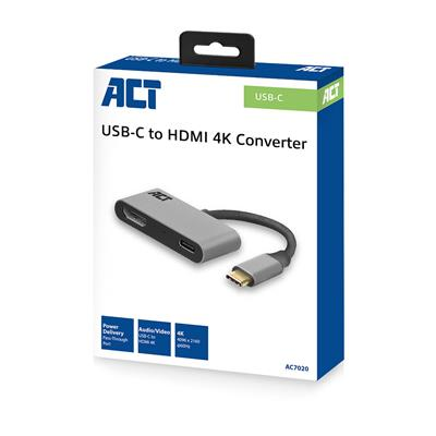 ACT USB-C to HDMI female adapter 4K with PD Pass-Through 60W