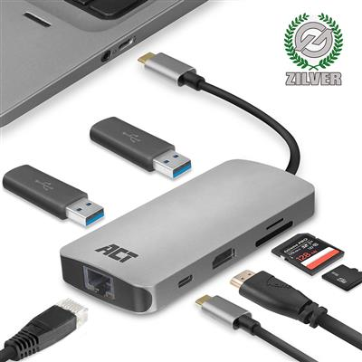 ACT USB-C 4K multiport adapter with HDMI, USB-A, LAN, Card reader, USB-C with PD Pass-Through 60W