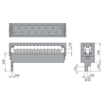 MPE-Garry 372-1-008-T-KT0 8 polige PCB board to board female kabeldeel met 1,27 mm raster