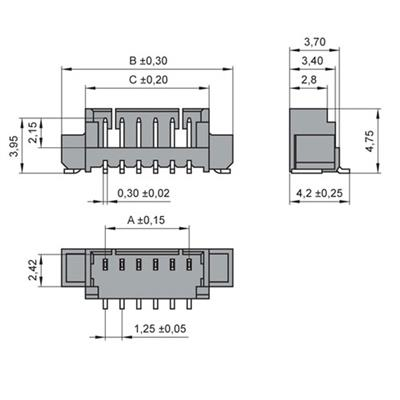 MPE-Garry 427-1-015-0-T-KS0 15 polige PCB wire to board male chassisdeel met 1,25 mm raster