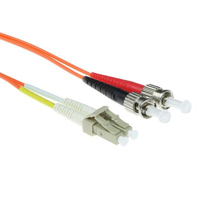 ACT 10 meter LSZH Multimode 62.5/125 OM1 fiber patch cable duplex with LC and ST connectors